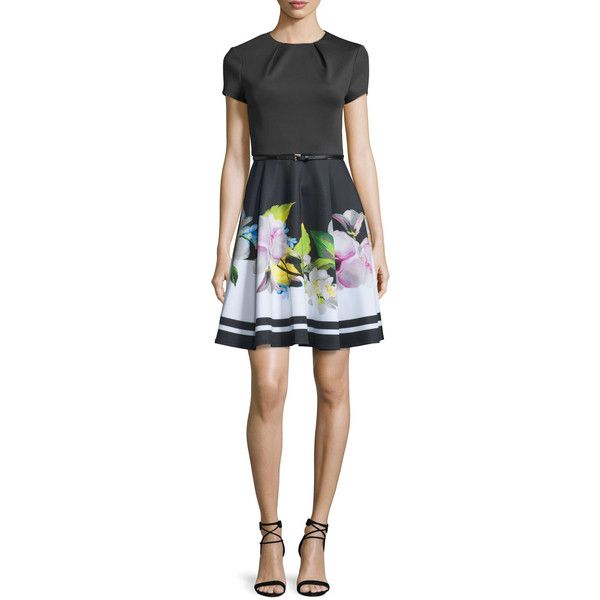Ted Baker London Vidaa Floral Short-Sleeve Belted Dress ($279) ❤ liked on Polyvore featuring dresses, black, flower pattern dress, short-sleeve dresses, floral dress, floral pattern dress and fit flare dress