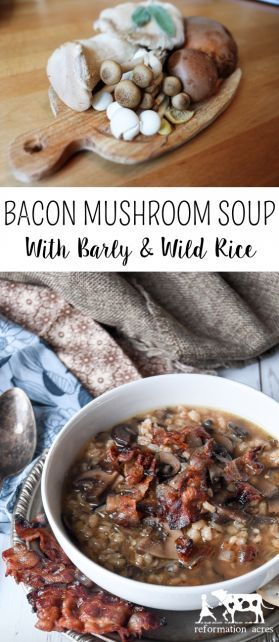 Want a warm soup to serve on a cold winter day? This recipe for Bacon Mushroom Soup with Barley & Wild Rice is ready in less than an hour but tastes like you've been slow cooking it all day! #soup #bacon