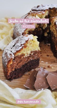 La bontà del #cioccolato, moltiplicata per tre, racchiusa in un dolce super soffice! #fefahomemade