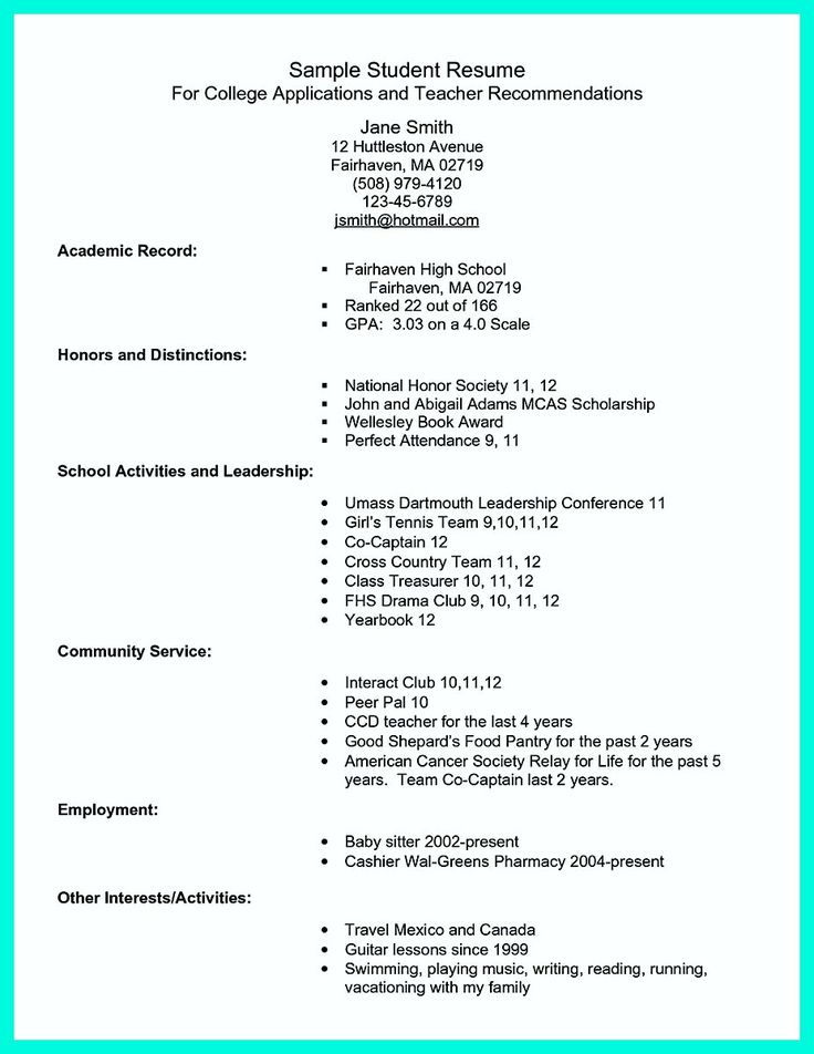 13 best resume for high school students images on