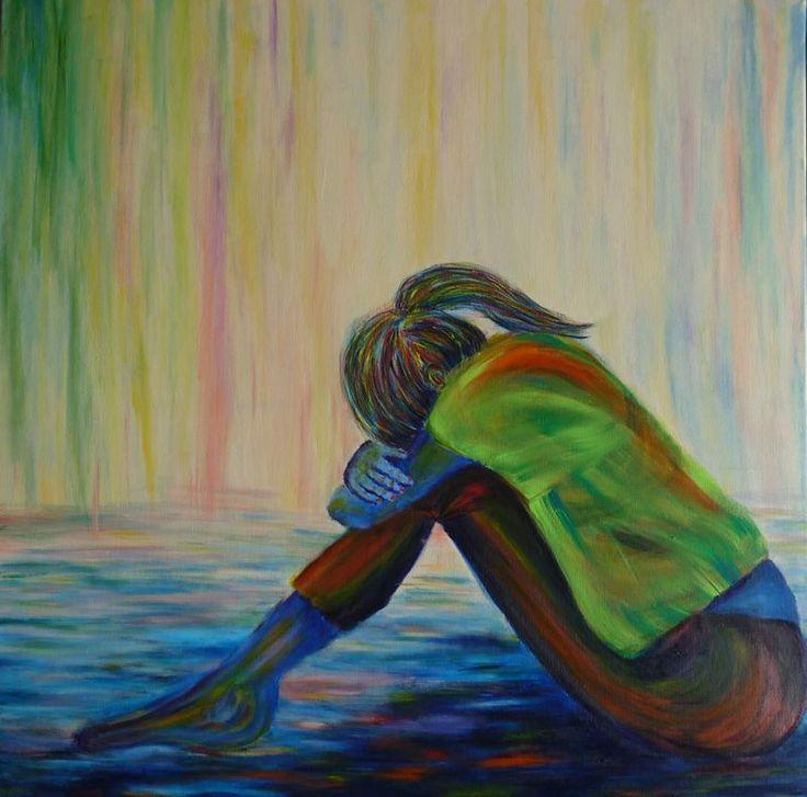 tableau peinture elize pigmentropie femme recroquevillée seule eau impressionnisme peintre