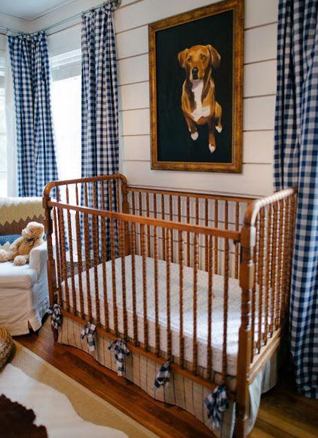 blue gingham drapes nursery