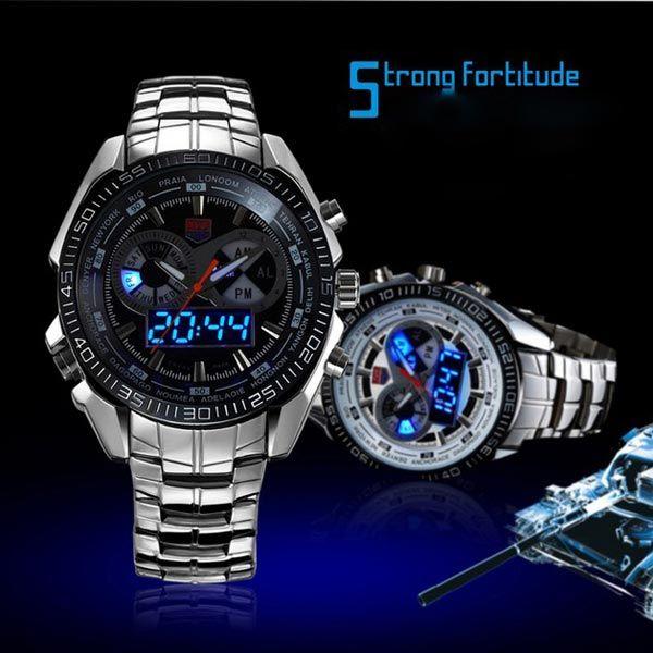 TVG 468 Men 3 Dial LED Display Analog-Digital Military Wrist Watch