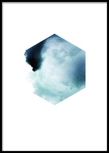 Affisch med hexagon i petrolblått. Stilrena posters och prints i blått.