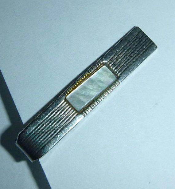 Vintage Mother of Pearl Tie Clip Gold Tone by PopcornVintageByTann