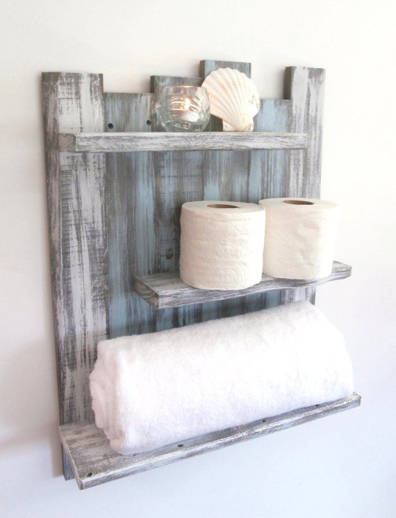 Coastal Decor Above The Toilet Bathroom Shelves 3 Shelf
