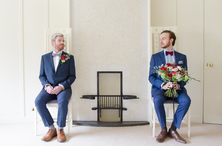 Two grooms with Peony and rose bouquet and buttonholes. Flowers by The Floral Design Boutique, Scotland