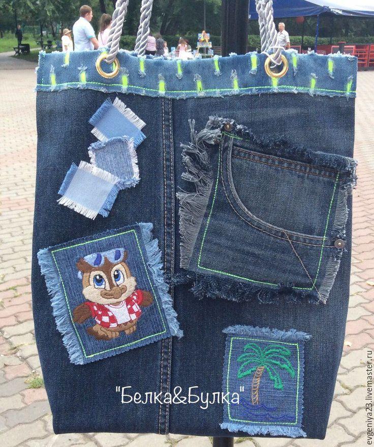 Купить джинсовая сумка - комбинированный, пляжная сумка, хозяйственная сумка, Машинная вышивка, джинсовая сумка