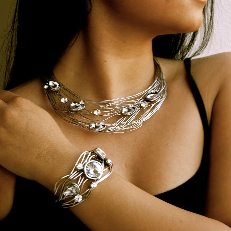 Vintage Collection - On The Edge Diamante Necklace and Cuff