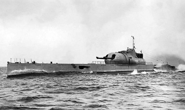 """French submarine Surcouf. Was aslo forcibly boarded during operation Catapult. (Dead Eagles) She was the largest submarine ever built until surpassed by the first Japanese I-400-class submarine in 1943. Her short wartime career was marked with controversy and conspiracy theories. She was classified as an """"undersea cruiser"""" by sources of her time."""