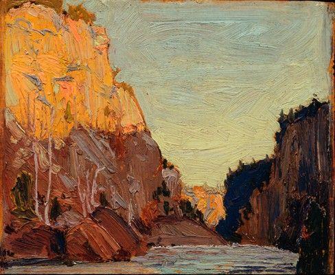 Tom Thomson - Petawawa Gorges, Autumn, 1916 (8.5 x 10.5 Oil on panel)