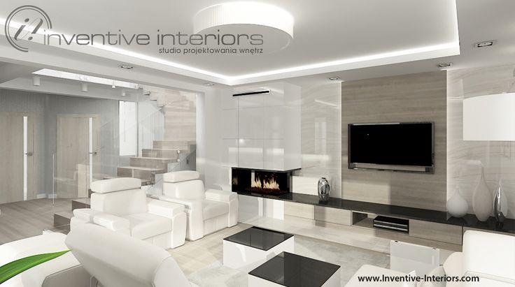 Projekt salonu Inventive Interiors - jasne drewno, biel i beż w otwartym salonie - czarne akcenty w jasnym salonie