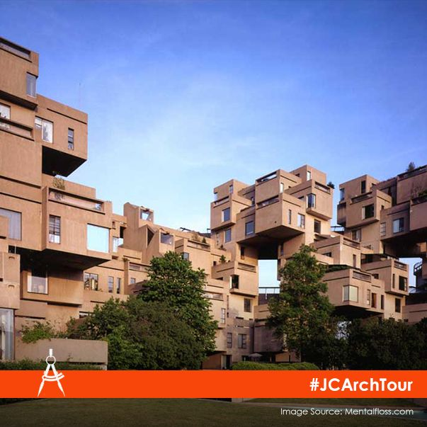 Habitat 67 is a revolutionary housing concept in Montreal, Canada comprising of 354 identical concrete units arranged on top of each other. #JCArchTour