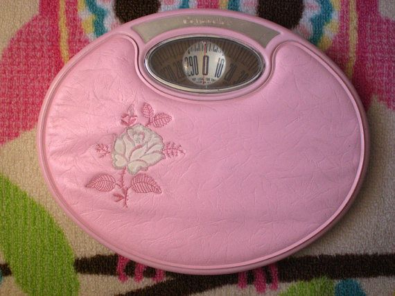 Counselor Scale Pink Midcentury retro bathroom decor by Auntdelta