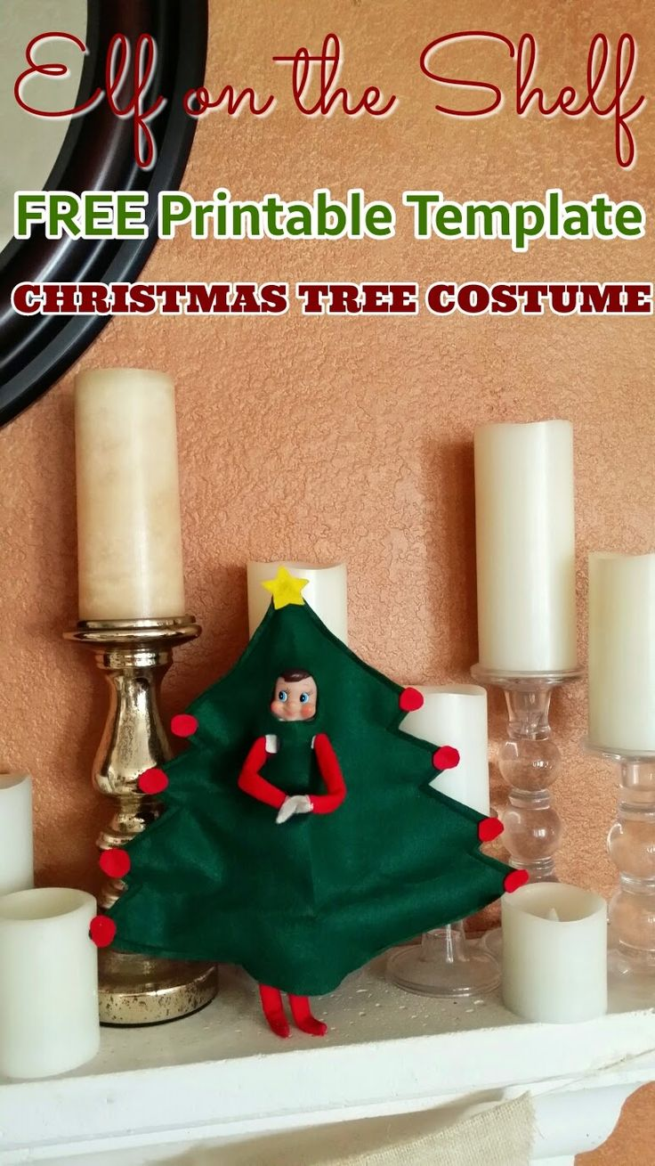 Elf on the Shelf: Christmas Tree Costume with FREE Printable Template - several ideas to do with one printable template!  Sew and no-sew options #elfontheshelf