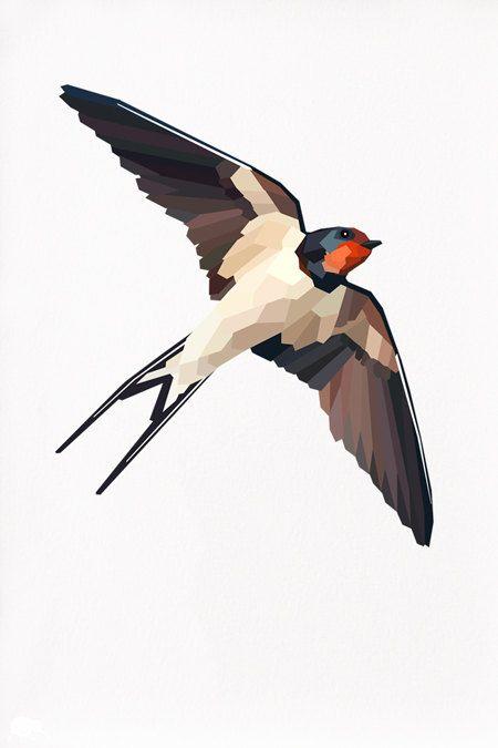 Geometric illustration Swallow Bird print by tinykiwiprints