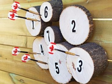 Make your own dartboard from salvaged wood and simple hardware.