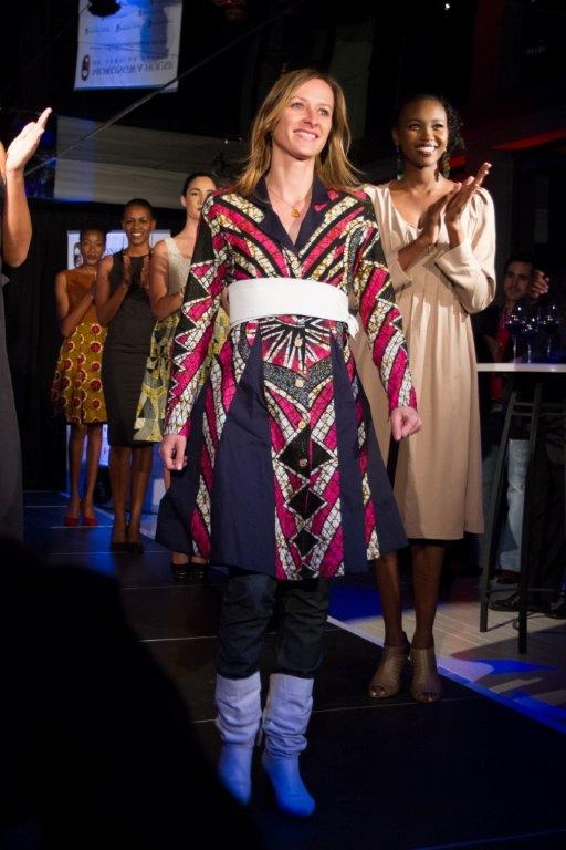 Kinabuti with her collection at the Morongwa House of African Fashion. www.mhafricanfashion.co.za