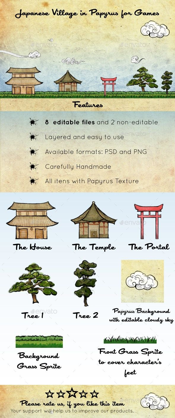 Japanese Village In Papyrus Assets In 2020 Ancient Japanese Art