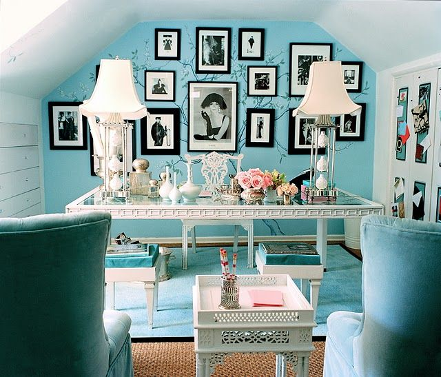 Tiffany Blue Audrey Hepburn office designed by Mary McDonald.Wall Colors, Ideas, Dreams, Offices Spaces, Blue Wall, Tiffany Blue, Black White, Home Offices, Room