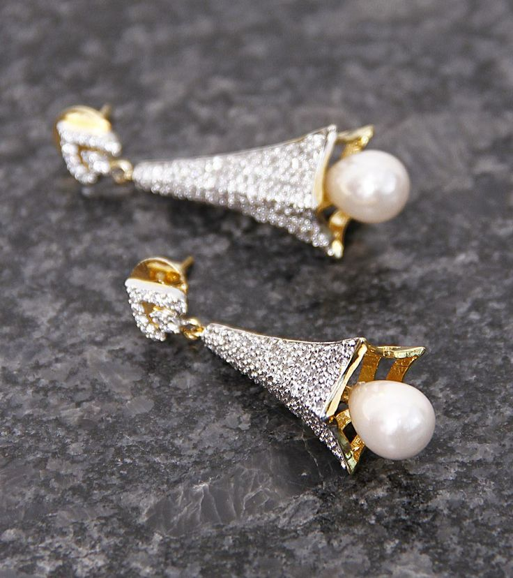 White Embellished Long Earrings