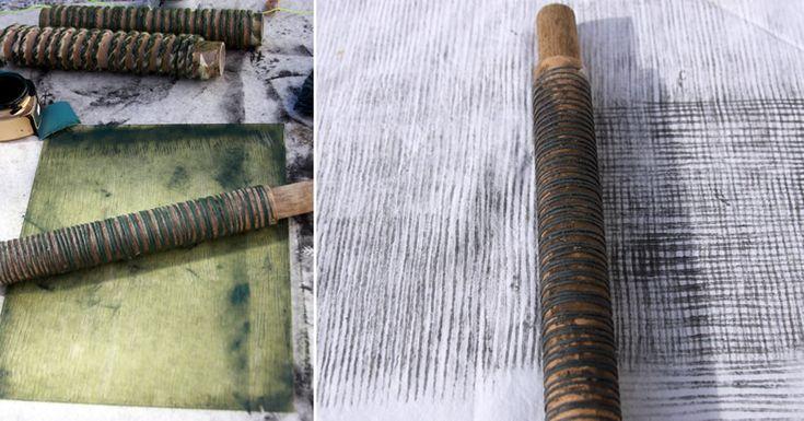 Drucken: Papphülsen mit Schnur umwickelt