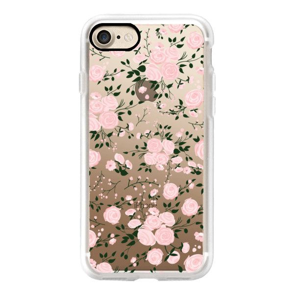 Pink Floral Flowers and Roses Transparent Case 001 - iPhone 7 Case,... (119.770 COP) ❤ liked on Polyvore featuring accessories, tech accessories, iphone case, apple iphone case, floral iphone case, iphone cases, iphone cover case and slim iphone case