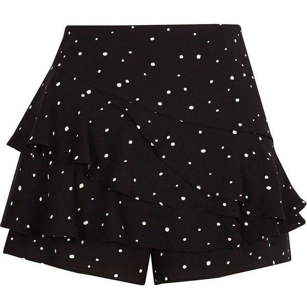 River Island Black polka dot frill shorts ($64) ❤ liked on Polyvore featuring shorts, black, skorts, women, tall shorts, polka dot shorts, flounce shorts, side zipper shorts and skort shorts