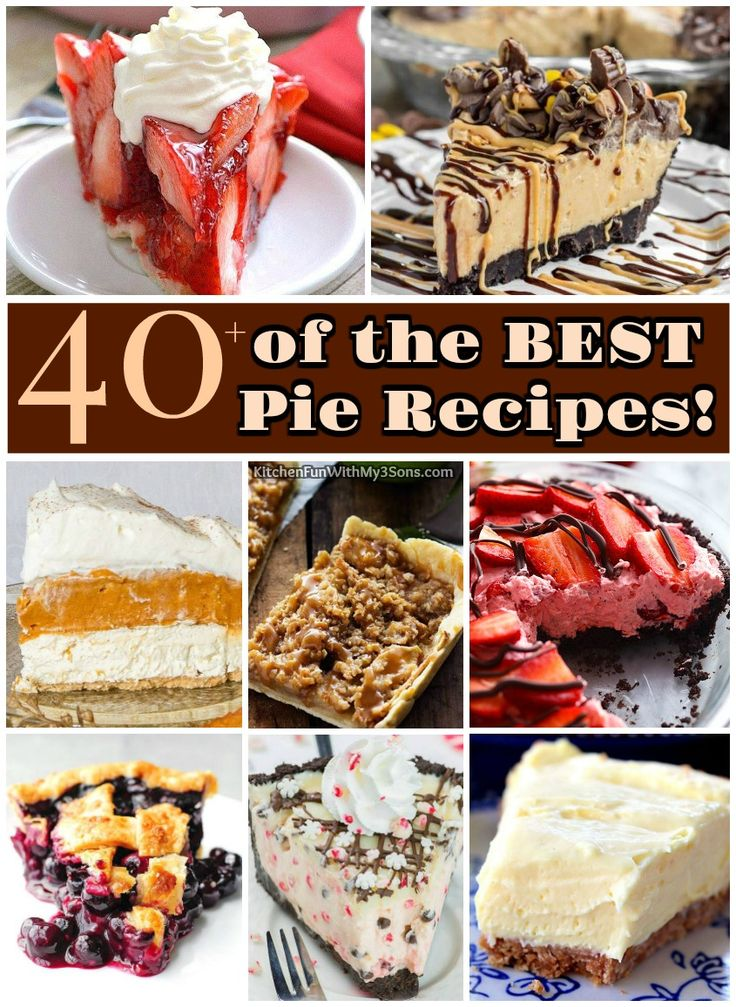 40+ of the BEST Pie Recipes - all of these are amazing and very easy to make. Everything from fruit pies, chocolate, cream, slab, and more!
