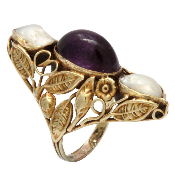 1STDIBS.COM Jewelry & Watches - Unknown - Art Nouveau Pearl & Cabochon Amethyst Ring - The Emporium, Ltd