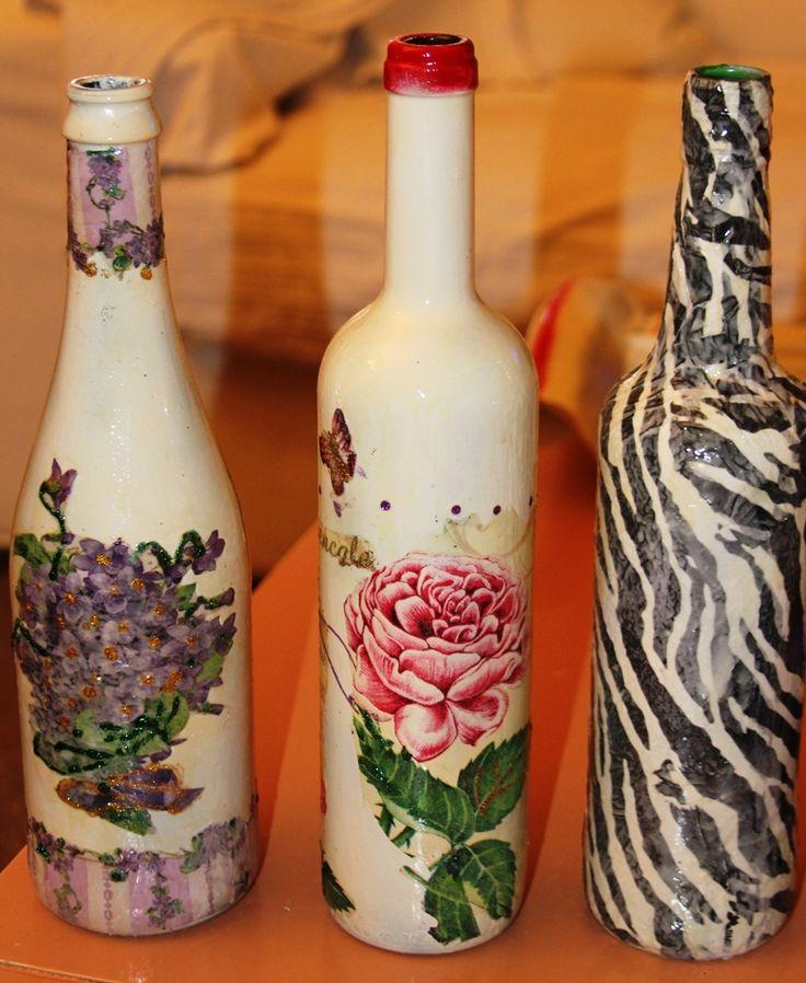μπουκάλια με ντεκουπαζ- decoupage on bottles
