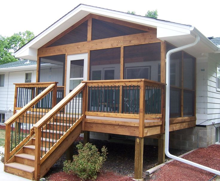 264 best deck ideas images on pinterest porch ideas for Screened in porch ideas for mobile homes