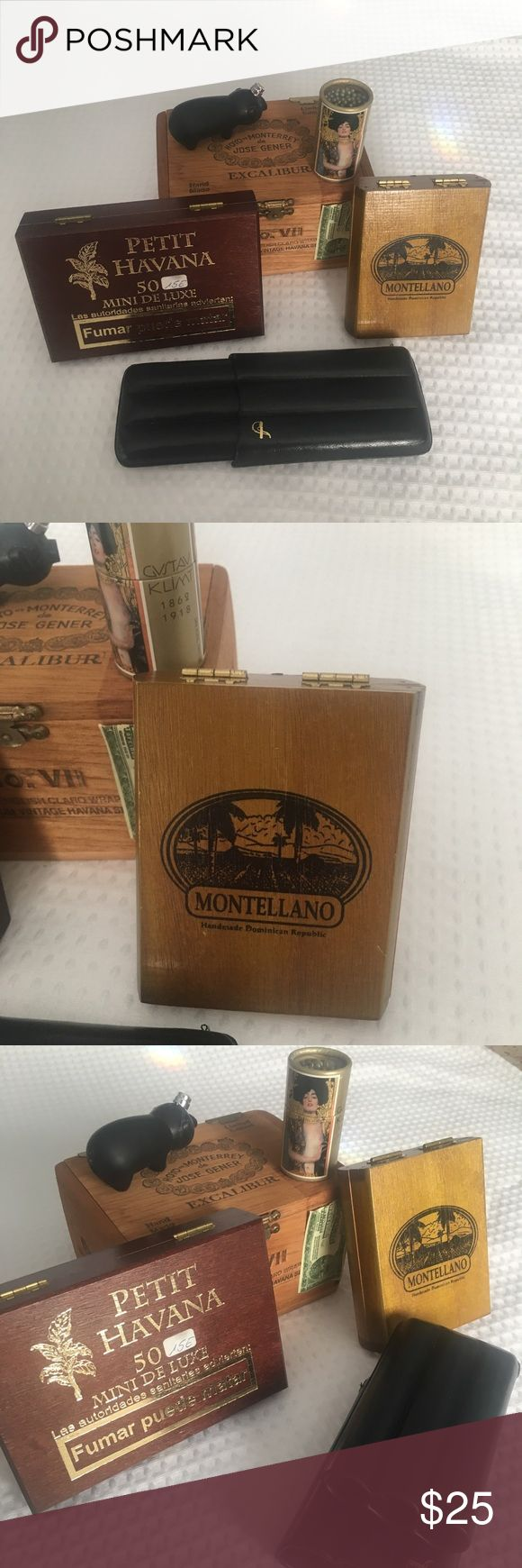 Bundle of Spanish and Dominican Cigar Supplies Leather 3 Cigar Holder, Pig shaped lighter, Collectible Gustav Klimt Matches, Montellano Wooden cigar box from the Dominican Republic, Hoyo de Monterrey Wooden Cigar Box and Petit Havana Box from the Canary Islands. Other
