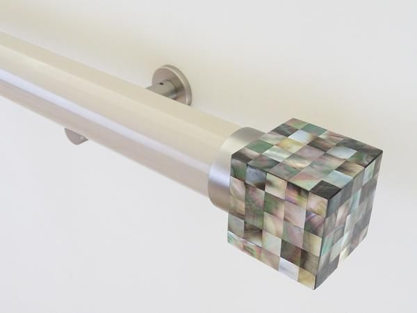 50mm diameter gloss lacquered curtain pole. mother of pearl riva cube finials and steel brackets