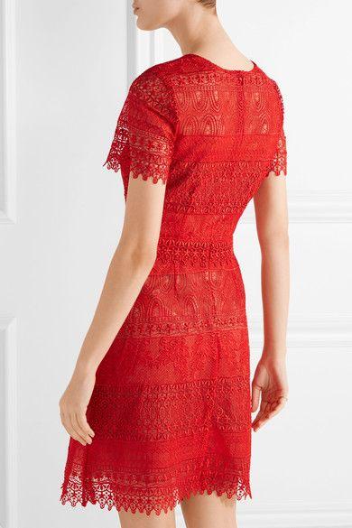 Marchesa Notte - Guipure Lace Mini Dress - Red - US10