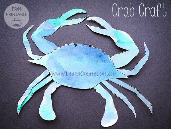 Printable Crab Craft   LearnCreateLove.com