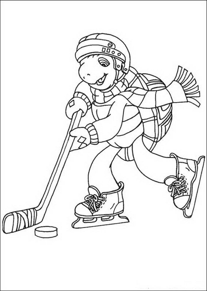 Franklin Playing Hockey Coloring Pages For Kids Printable