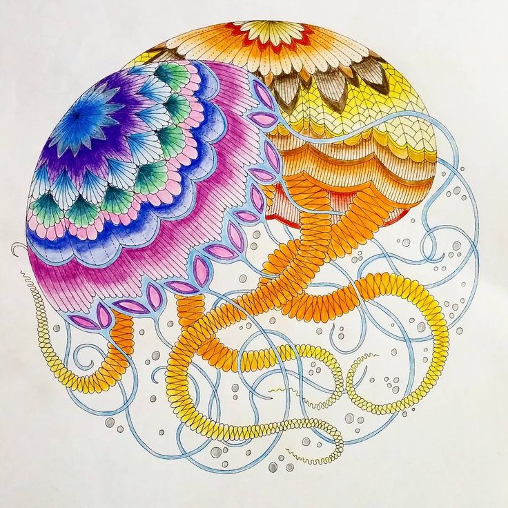 Jellyfish Using Faber Castell Watercolour Pencils Find This Pin And More On Tropical World Coloring