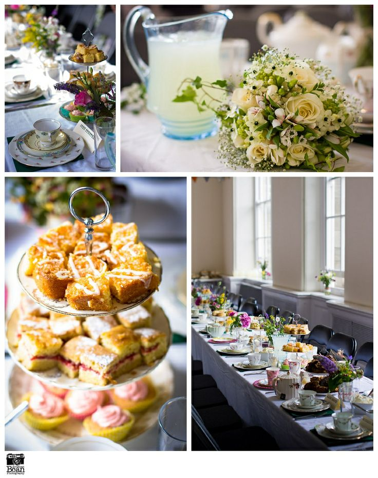 Afternoon tea and lashings of lemonade for a village hall inspired wedding. Vintage china and pitchers by Itsy Bitsy Vintage. Food by the Nice Bar & restaurant, Lancaster, UK. Photo by Beanphoto.