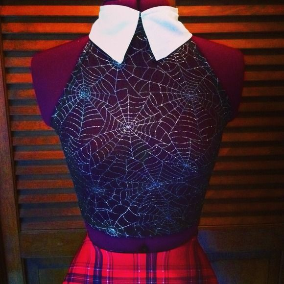 Spider web gothic schoolgirl top This school girl top is super cute for any witchy babe! It's sexy enough you could wear it as lingerie if desired! This top is made from a see thru stretch mesh spiderweb fabric it ties into a halter in the back it also comes with a white school girl collar this top is a crop top style Bows by samantharose Tops