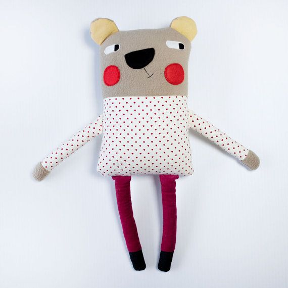 Soft Toy Plush Bear Cuddly Fleece Softie by alifeinthemaking