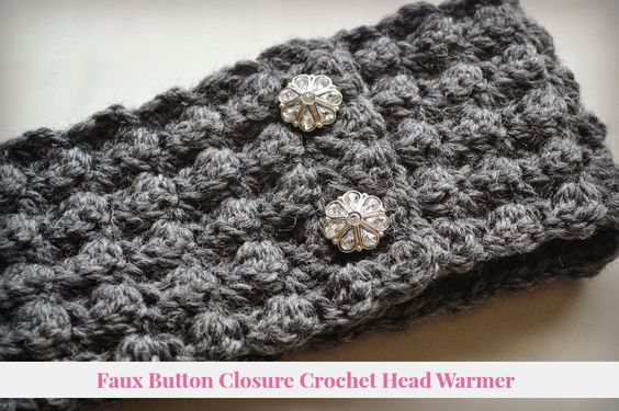 Faux Button Closure Crochet Headband Free Pattern from Nikki In Stitches