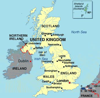 Where is the UK?  The UK is situated north-west of the European continent between the Atlantic Ocean and the North Sea. It has a total land area of 244,100 square kilometres, of which nearly 99% is land and the remainder inland water. From north to south it is about 1,000 kilometres long.