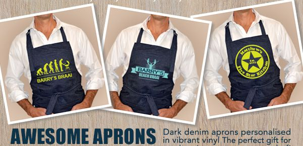 Personalised Denim Aprons - select your design from the wide range online www.macaroon.co.za - ideal for Fathers Day