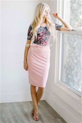 Pink Pencil Fit Modest Skirt, modest dresses, modest dress, modest skirts, church dress, modest bridesmaids dresses, best online modest dresses, buy modest dresses online, cute summer dress, maxi skirt, mikarose, best online boutique