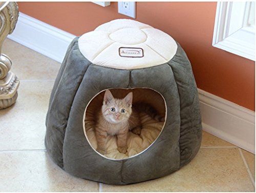100 Poly Fill Waterproof SkidFree Base MachineWashable Quilted Halo Cat Bed ** See this great product.