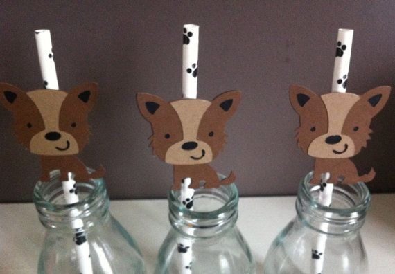 12 PUPPY Party Straw Toppers & Straws Puppy by KatesPartyShop