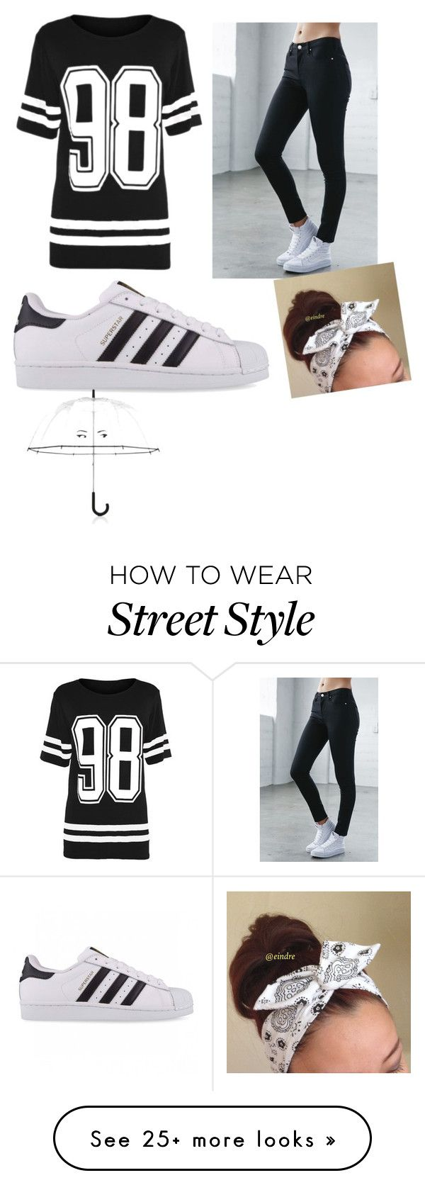 """Black and white street style"" by jerlynnnlovespenguins13 on Polyvore featuring Bullhead Denim Co., adidas Originals and Kate Spade"