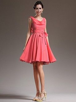 Draped Neck Chiffon A Line Bridesmaid Dress with Bow Sash - USD $96.00