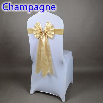Colour Champagne wedding chair sash long tail wedding butterfly bow tie lycra band stretch bow tie ribbon for weddings wholesale